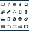 gadget icons set with flash drive router vector image