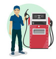 Gas station worker standing next to fuel dispenser vector image vector image