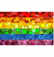 gay pride flag made of hearts background vector image