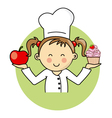 Girl with apple and cake vector image vector image