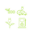 green ecology linear icons set vector image vector image