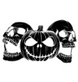 halloween skull pupmkids isolation vector image