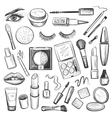 Hand drawn Beauty and makeup icons set vector image vector image