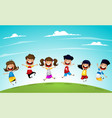 happy cartoon kids jumping together vector image