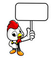 happy chicken character holding a picket isolated vector image vector image