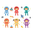 kids astronauts and cosmonauts set with rockets vector image