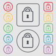 Lock icon sign symbol on the Round and square vector image vector image