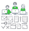 male and female teamwork and icons set vector image vector image