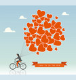man on a bike with hot air balloons in the sky vector image vector image