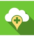 Medical Cloud Flat Long Shadow Square Icon vector image vector image