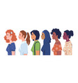 multiculturalism women with various skin colors vector image