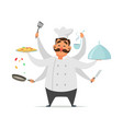 multitasking chef cooking funny character vector image