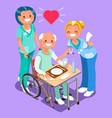 nurses group doctors team isometric people vector image vector image