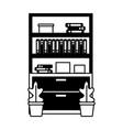 office bookshelf books vector image