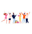 people with gifts happy characters group vector image