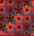 redorange burgundy flowers on blue background vector image