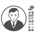 Rounded Gentleman Icon With Tools Bonus vector image vector image