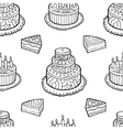 Seamless pattern with hand drawn cakes on white vector image