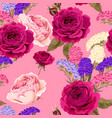 seamless pattern with roses and dry flowers vector image