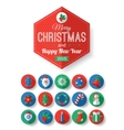 Set of Christmas typographical label and round vector image