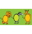 Set of oval frames - animals -lion zebra giraff vector image vector image