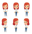 set of reception character in different poses vector image vector image