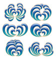 set of six decorative floral curls vector image vector image