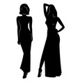 silhouette beautiful women in evening dress vec vector image