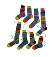 simple striped winter socks set vector image