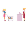 supermarket cash desk with female cashier and vector image vector image