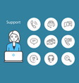 support service woman and laptop icons set vector image vector image
