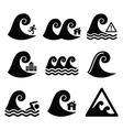 Tsunami big wave warning neutral disaster icons vector image vector image