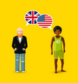 two people with white speech bubbles with great vector image vector image