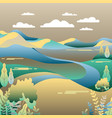 village landscape in trendy flat style mountains vector image