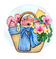 watercolor beach bag with flowers and accessories vector image vector image