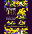 welcome spring season greeting banner with flower vector image vector image
