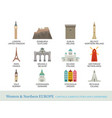 western and northern europe cities landmarks in vector image vector image