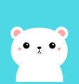 white polar bear cub kawaii cartoon character vector image