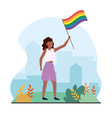 woman with rainbow flag to lgbt freedom vector image vector image