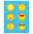 yellow sun cartoon emoji face collection - 1 vector image