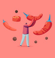 young positive man holding huge red chili pepper vector image
