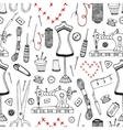 Needlework and sewing equipment seamless pattern vector image