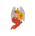 Spartan Warrior Angel Sword Rosary Drawing vector image