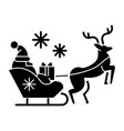 santa claus in a sleigh with a deer icon vector image