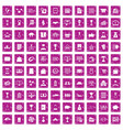 100 business icons set grunge pink vector image vector image