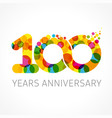 100 years anniversary infinity color logo vector image vector image