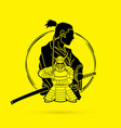 2 samurai composition cartoon vector image