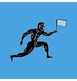 Ancient greek athletic runner with national flag vector image vector image