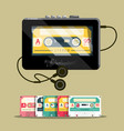 audio cassettess with walkman retro music player vector image vector image