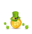 Background with hat clovers and coins in saint vector image vector image